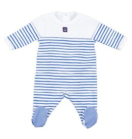 Petit Bateau Petit Bateau Striped Back Snap Footie with Anchor
