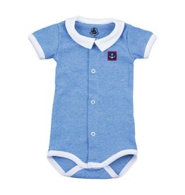 Petit Bateau Petit Bateau Short Sleeve Striped Bodysuit with Collar