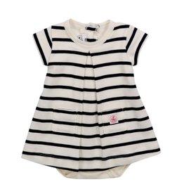 Petit Bateau Petit Bateau Striped Bodysuit Dress with Pockets