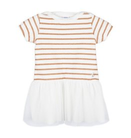 Petit Bateau Petit Bateau Short Sleeve Striped Top Dress with Tulle Skirt