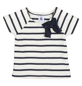 Petit Bateau Petit Bateau Striped Short Sleeve Tee with Bow