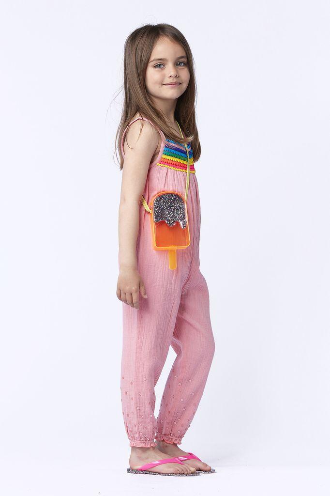 Billieblush Billieblush Sleeveless Jumpsuit with Rainbow Pom Pom Trim