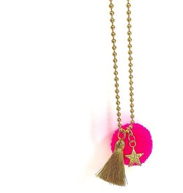 Little Lux Little Lux Star Bright Pom Pom Necklace