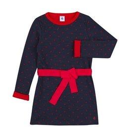 Petit Bateau Petit Bateau Longsleeve Heart Dot Print Dress with Bow