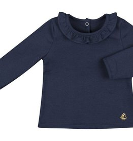Petit Bateau Petit Bateau Longsleeve Top wit Ruffle Collar and Heart Leggings Set