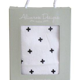 Alimrose Alimrose Muslin Swaddle Crosses Black