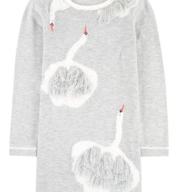Billieblush Billieblush Knit Jacquard Dress with Swan