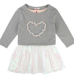 Billieblush Billieblush Jersey/Organza Dress with Heart Embroidery