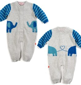Magnificent Baby Magnificent Baby Blue Elephant Knit Coverall
