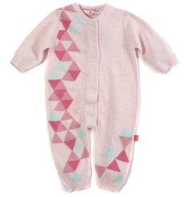 Magnificent Baby Magnificent Baby Pink Geometric Knit Coverall