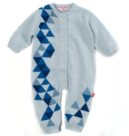 Magnificent Baby Magnificent Baby Blue Geometric Knit Coverall