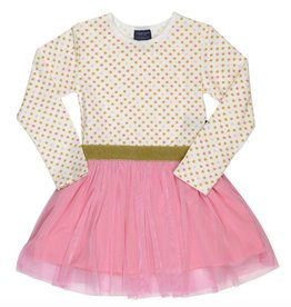 Tooby Doo Pink and Gold Star Tulle Dress