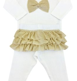 Oh Baby Oh Baby Gold Ruffle Bow Set