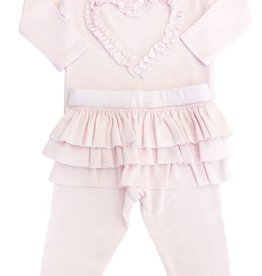 Oh Baby Oh Baby Pale Pink Ruffle Heart w/Matching Ruffle Pant Set