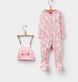 Joules Joules Bunny Footie and Hat Set