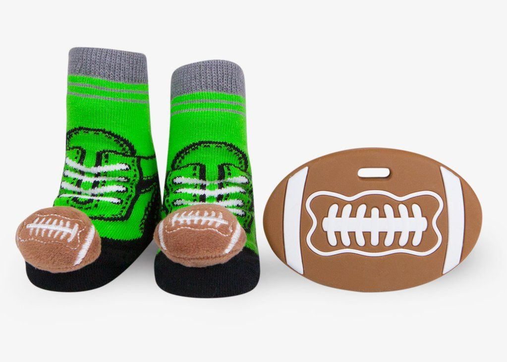 Waddle Waddle Football Teether and Rattle Socks Gift Set