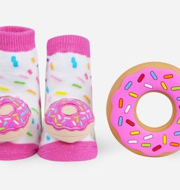 Waddle Waddle Donut Teether and Rattle Socks Gift Set
