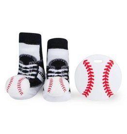 Waddle Waddle Baseball Teether and Rattle Socks Gift Set