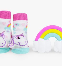 Waddle Waddle Unicorn Teether and Rattle Socks Gift Set