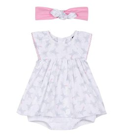 3 pommes 3 Pommes Unicorn Print Dress with Headband