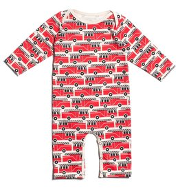 Winter Water Factory Winter Water Factory Long Sleeve Romper- Firetrucks