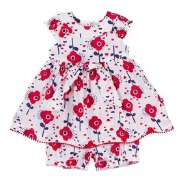 deux par deux Deux Par Deux Red Orchid Dress with Bloomer Set
