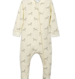 Feather Baby Feather Baby Zebras Zipper Footie