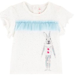 Billieblush Billieblush Short Sleeve Tee with Rabbit Graphic and Tulle Trim
