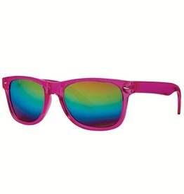 San Diego Hat Square Frame Sunglasses with Rainbow Mirrored Lenses
