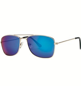 San Diego Hat Square Frame Sunglasses with Blue Mirrored Lenses