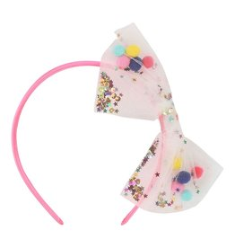 Billieblush Billieblush Headband with Pom Pom Sequin Mesh Bow