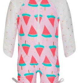 Snapper Rock Snapper Rock Watermelon Long Sleeved Sunsuit UV50+