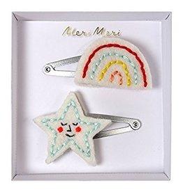 Meri Meri Meri Meri Embroidered Rainbow & Star Hair Clips