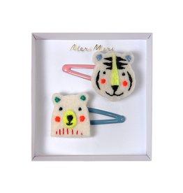 Meri Meri Meri Meri Embroidered Bear & Tiger Hair Clips
