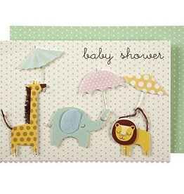 Meri Meri Meri Meri Animals with Umbrellas Baby Shower Card