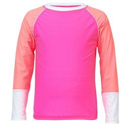 Snapper Rock Snapper Rock Neon Pink White Cuff Rash Top UV50