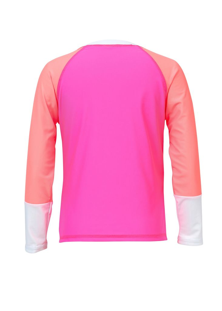 Snapper Rock Snapper Rock Neon Pink White Cuff Rash Top UV50