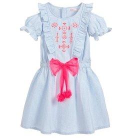 Billieblush Billieblush Poplin Thin Stripe Cold Shoulder Dress with Bow Tie