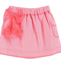 Billieblush Billieblush Thin Stripe Poplin Skirt with Tulle Pom Pom Bow