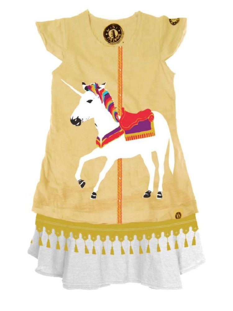 Mini Shatsu Mini Shatsu White Unicorn Carousel Dress