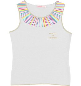Billieblush Billieblush Jersey Tank Top with Multi-Colored Collar
