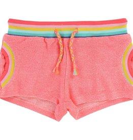Billieblush Billieblush Neon Knit Shorts with Rainbow Elastic Waist