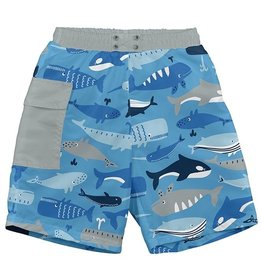 i play i play Whale League Pocket Trunks with Swim Diaper