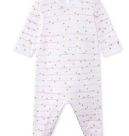 Petit Bateau Petit Bateau Back Snap Striped Gold Dot Footie