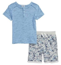 Splendid Splendid Henley with All-Over-Print Short Set
