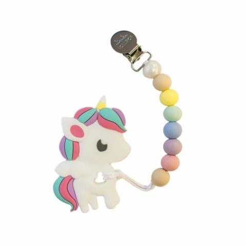 Loulou Lollipop Loulou Lollipop Rainbow Unicorn Silicone Teether with Holder Set