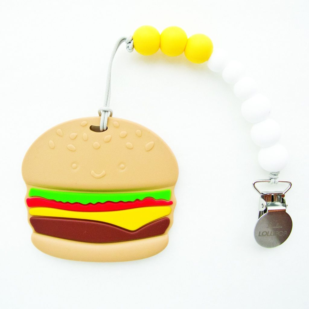 Loulou Lollipop Loulou Lollipop Burger Silicone Teether with Holder Set