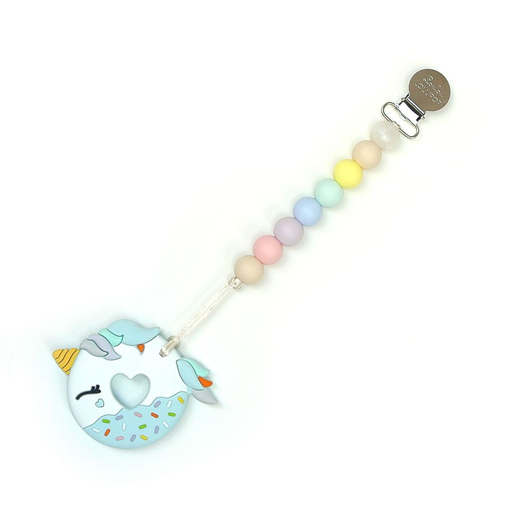 Loulou Lollipop Loulou Lollipop Blue Unicorn Donut Silicone Teether with Holder Set