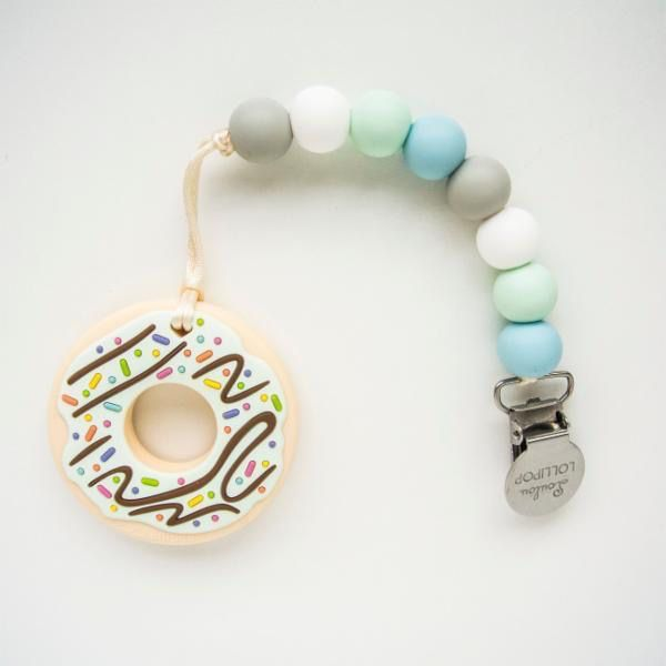 Loulou Lollipop Loulou Lollipop Mint Donut Silicone Teether with Holder Set