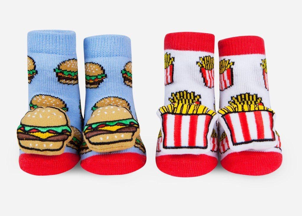 Waddle Waddle Burger & Fries Rattle Socks